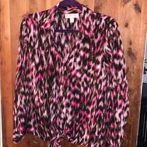 Michael Kors Leopard Shirt With Tie Bottom Size 10